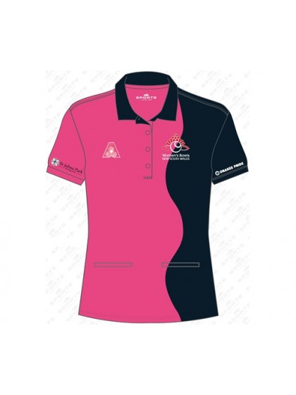 WOMEN'S BOWLS NSW OFFICIAL SHORT SLEEVE POLO SHIRT 1