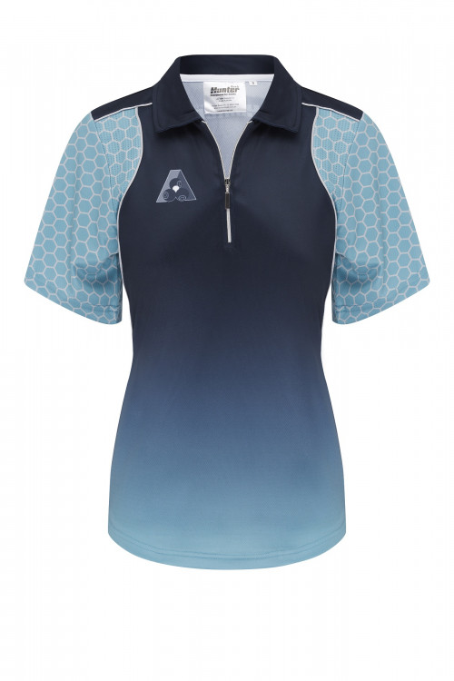 Ladies Zip Navy Jade Platinum Polo 1