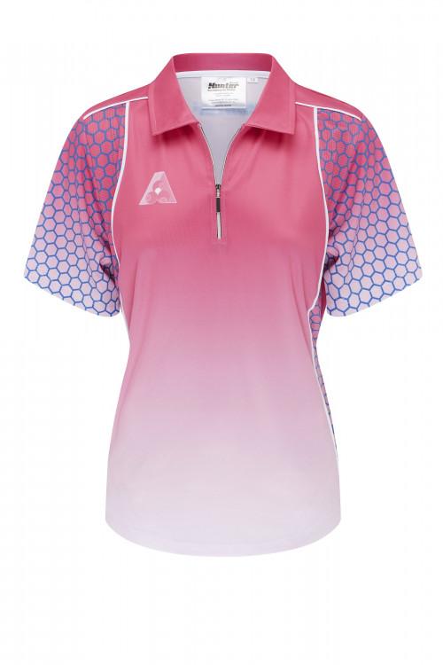 Ladies Zip Pink Platinum Polo 1