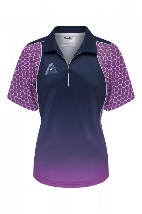 Ladies Zip Purple Navy Platinum Polo 1