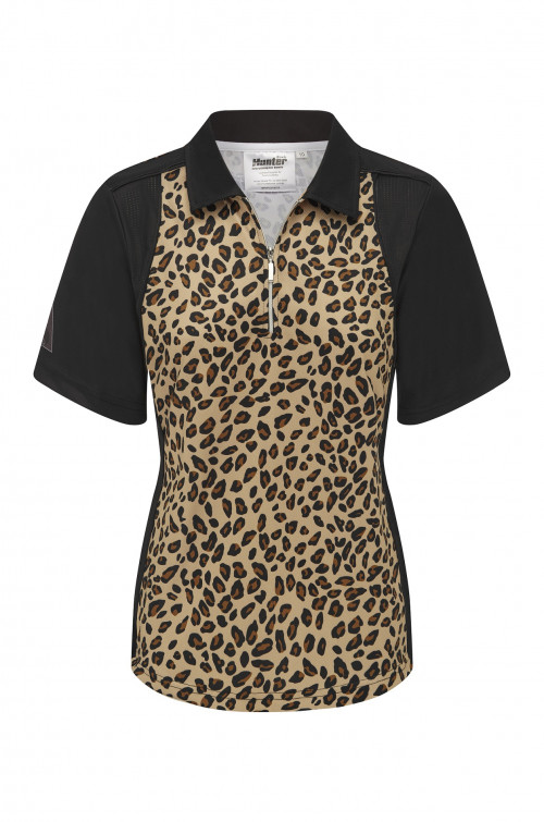 Ladies Zip Leopard Black Platinum Polo 1