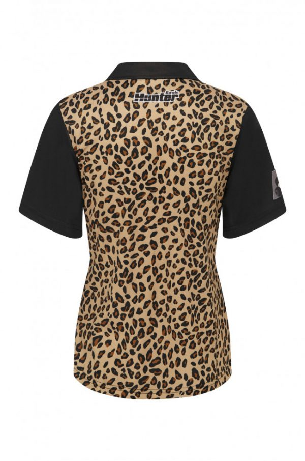 Ladies Zip Leopard Black Platinum Polo 3