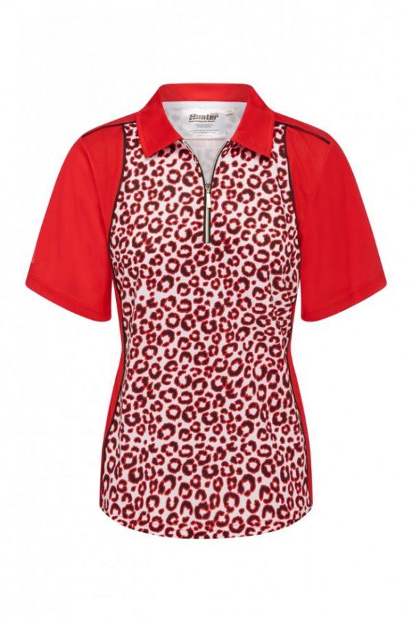 Ladies Zip Leopard Red Platinum Polo 1