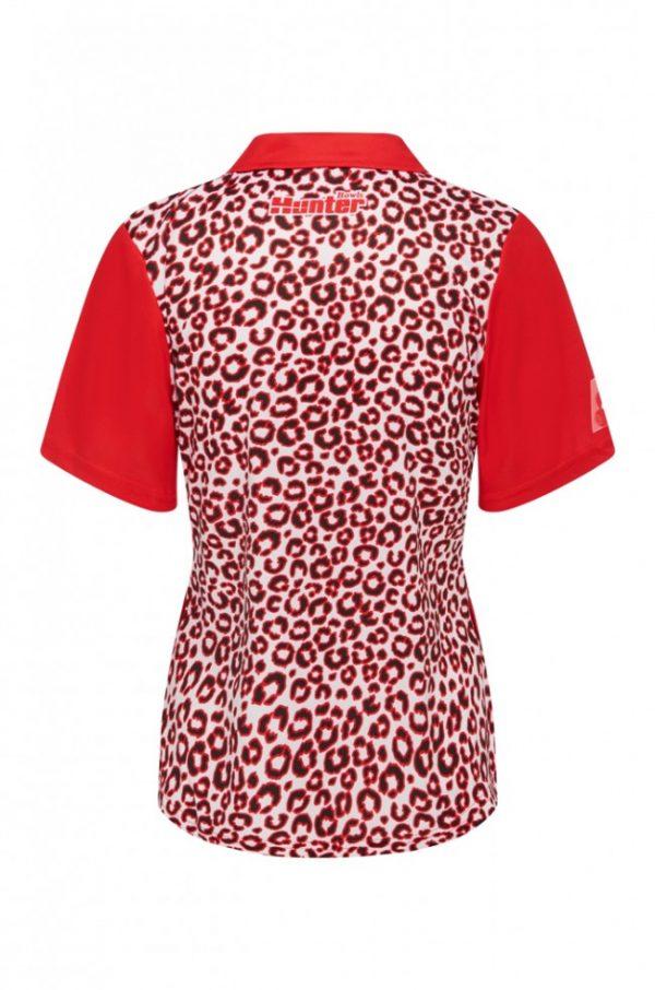 Ladies Zip Leopard Red Platinum Polo 3
