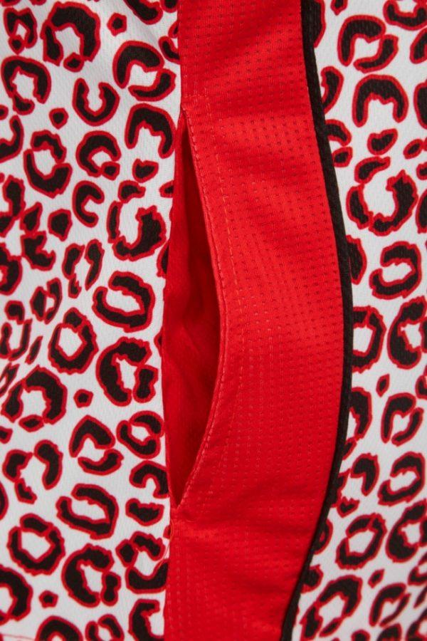 Ladies Zip Leopard Red Platinum Polo 4
