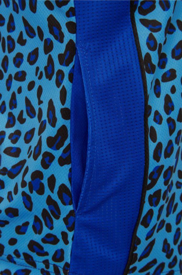 Ladies Zip Leopard Royal Platinum Polo 4
